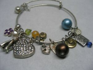 Silver Tone Charm Bracelet Mixed Variety of Silver Tone & Other Materials Adj.