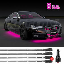 8pc Bright Slim Tube LED Underbody Undercar Neon Glow Lights 3 Mode - PINK
