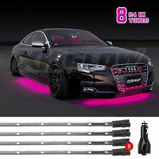 8pc Bright Slim Tube LED Underbody Undercar Neon Glow Lights 3 Mode - PINK