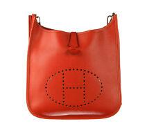 HERMES Vermillion Epsom Leather Evelyne II PM Bag