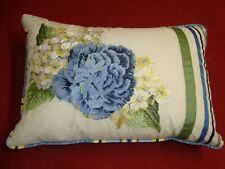 "NEW WAVERLY Floral Embroidery LUMBAR PILLOW 14"" x 20"" Blue Yellow w/ Form"