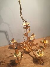 "BRIGHT GOLD FINISHED METAL CHANDELIER WITH LEAVES 20"" W X 30"" DROP"