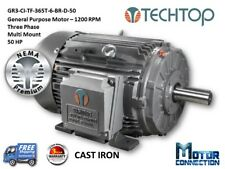 50 HP Electric Motor, GEN PURP, 1200 RPM, 3-Phase, 365T, Cast Iron, NEMA Prem