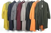 Ladies Boiled Wool Mix Long Waterfall Felt Duster Jacket Coat Plus Size 16-24