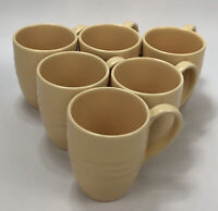 Set of 6 Pier 1 Imports New Essentials Butter Ironstone Yellow Coffee Mugs AA