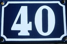 Original French Vintage Enamel House Door Number 40 Blue And White