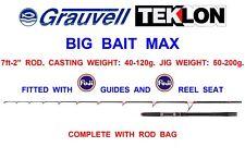 "GRAUVELL TEKLON 7ft-2"" BIG BAIT MAX ROD SEA FISHING TROLLING BOAT TUNA SPINNING"