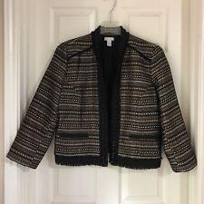 Chicos 2 Bolero Jacket with black chain trim Large Size 12 Black Gold