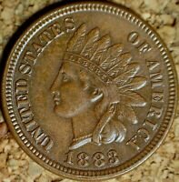 1883 Indian Head Cent - SUPER SHARP AU SNOW-10, REPUNCHED DATE (K850)