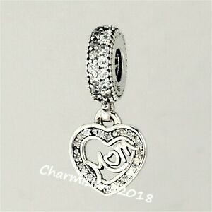 Authentic Pandora Charm 791521 Silver 925 ALE Mom Center of My Heart Dangle