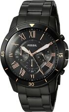 Fossil FS5374 Grant Sport Black Stainless Steel Chronograph 44mm Men's Watch