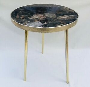 Black Petrified Wood Agate Round Edge Side Coffee Table For Living Room