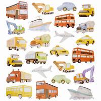 TRANSPORTATION Plane Train Sailboat Bike Car JARU Glitter Stickers NEW 24 pc