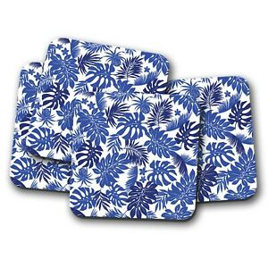 4 Set - Blue Palm Leaves Coaster - Tree Leaf Tropical Surf Holiday Gift #15608