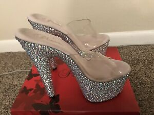 Pleaser BEJEWELED-701DM Women's Clear Silver Rhinestones High Heel Sandals 7