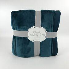 "Berkshire Classic Velvety Plush Blanket  Atlantic Blue Twin 60"" x 90"" New"