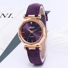 Fashion Women Leather Crystal Quartz Watch Analog Wristwatch Bracelet Jewelry
