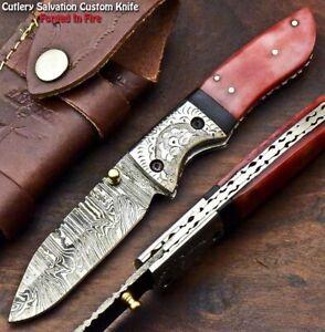Custom Handmade Damascus Pocket Liner Lock Folding Knife | CAMEL BONE