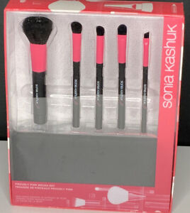 NEW Sonia Kashuk 5 pc Brush Set With Carrying Bag Makeup Pink