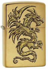 "Zippo Lighter ""Golden Dragon No 29725 - New on brushed brass finish"