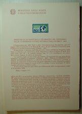 1963  ITALIA  Bollettino Postale N° 97 Conferenza Postale di Parigi