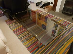 "Pieff ""kadia"" coffee table from Heals, 1970s smoked glass chrome"