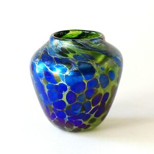 Iridescent Studio Art Glass Vase with Blue Spots, 9.5 cm, Norman Stuart Clarke?