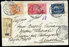 1917 - Eritrea - Raccomandata per Genova con affrancatura multipla - Sorani