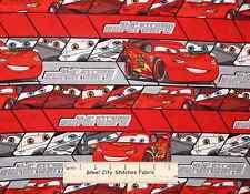 Disney Pixar CARS Lightning McQueen Red Slip Stream Supercars Cotton Fabric YARD