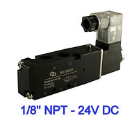 """Pneumatic 4 Way Directional Control Air Cylinder Solenoid Valve 1/8"""" Inch 24V DC"""