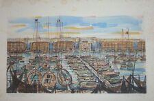 """Eau Forte par R. THOMAS, """"Le Port de Marseille"""", XXème"""
