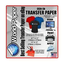 "Soft  Dark Inkjet HEAT Transfer Paper - 8.5"" x 11"" - 10 Pack BL  :)"