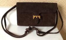 EUC - Vintage MEYERS Brown Suede Shoulder Bag Purse w/ Gold Tone Closure Pretty!