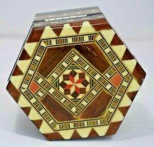 Hexagonal Mosaic Mirrored Trinket/Jewelry Box (Hinged)