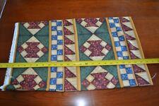 By 1/2 Yd, Burgundy Green Blue & Tan Quilt-Print on Cotton, Cranston/Back, D844