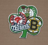 "NEW 3 7/8 X 4"" BOSTON SHAMROCK RED SOX-CELTICS-BRUINS-PATRIOTS IRON ON PATCH E"