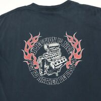 Vtg NO FEAR Racing T-Shirt L Faded Black Engine Flames Funny Theme 90s Grunge