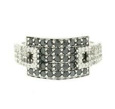 14k White Gold 1.22ctw Pave Round Black & White Diamond Dual Buckle Band Ring