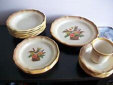 Mikasa Whole Wheat Autumn Song 14 Piece Dish set Bowls Small Plates Saucers