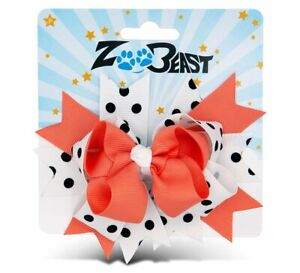 Zoo Beast Signature Collection - Elegant Coral and White Polka Dot Hair Bow...