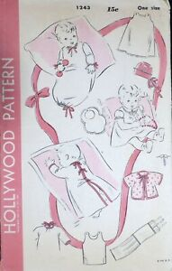 Vtg 1940s Hollywood 1243 Baby Layette Clothes Dress Bib Slip SEWING PATTERN