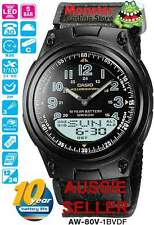CASIO WATCH TELEMEMO WORLD TIME AW80V AW-80V-1BV 12 MONTH WARRANTY