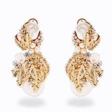 Elegant Women Gold Plated Crystal Pearl Earrings Dangle Ear Clip Pierced Jewelry