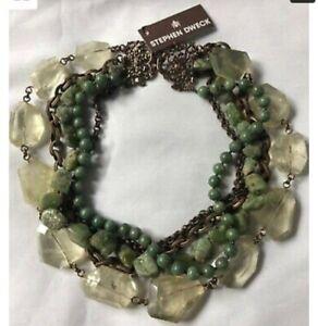 STEPHEN DWECK Multi strands Bronze Necklace w/Fluorite/Turquoise