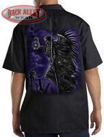 SOUL TAKER Mechanics Work Shirt Biker ~ Grim Reaper ~ Demons & Skulls Graveyard