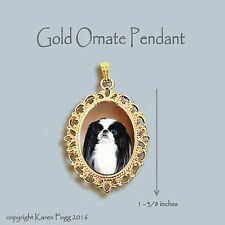 Japanese Chin Dog - Ornate Gold Pendant Necklace