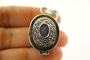 Australian Opal Poison Box Ornate 925 Sterling Silver Pendant Locket