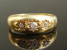 Splendido Gents Vittoriano 18ct GOLD 0.25ct 3 VECCHIO TAGLIO DIAMANTE Gypsy Star Set Anello