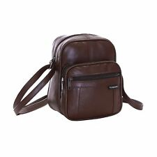 Small Real Genuine Leather Travel Luggage Man Organiser Shoulder Holdall Bag Brown