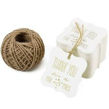 RUSPEPAGift Tags with String - 100PCS White Kraft Thank You Paper Tags with 3...